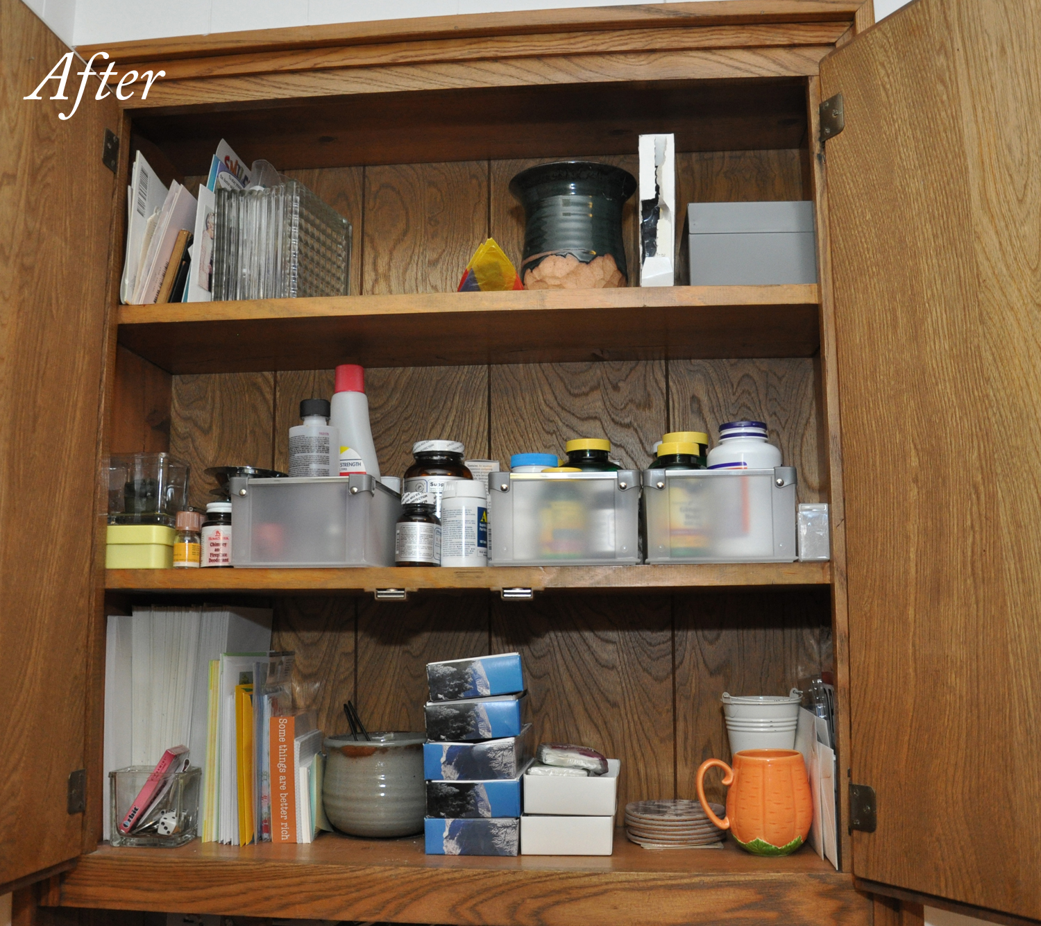 So, If I Had Been Really Crafty, Iu0027d Have Painted The Inside A Fun Color  And Papered The Shelves. As It Is, I Just Feel Better. The Other Cabinets  Are Going ...