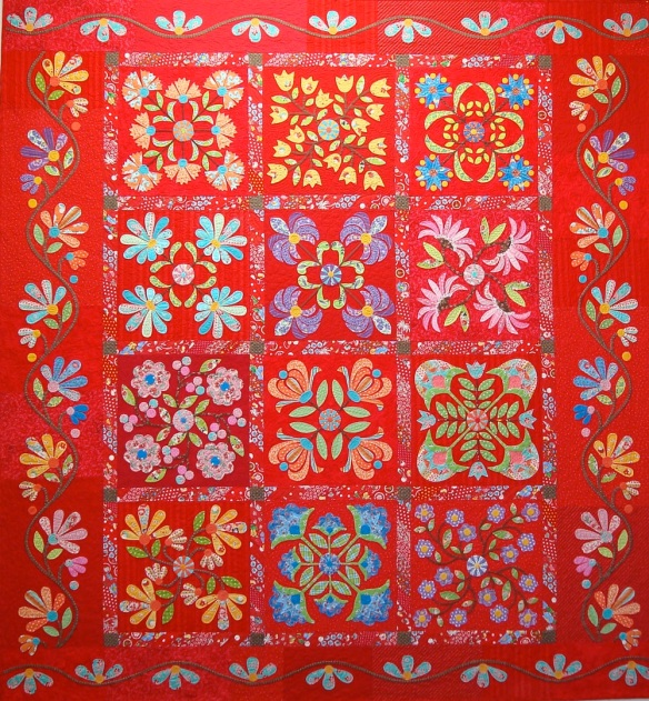 Aunt Millie's Garden from the book Applique Delights by Becky Goldsmith & Linda Jenkins. Quilt by Linda Jenkins, quilted by Mary Covey.