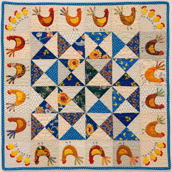 Chicken Chase from the book Applique Delights by Becky Goldsmith & Linda Jenkins. Quilt by Jane Green.