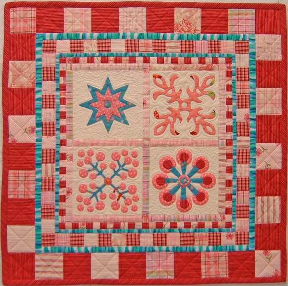 Spice Cake is made with blocks from the book Applique Delights by Becky Goldsmith & Linda Jenkins. Quilt by Becky Goldsmith.