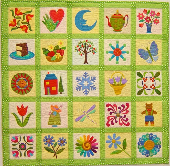 Pin Pal Quilt #2 from the book Applique Delights by Becky Goldsmith & Linda Jenkins. Quilt by Becky Goldsmith.