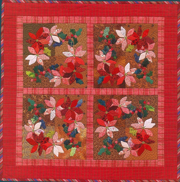 Poinsettias from the book A Slice Of Christmas by Becky Goldsmith & Linda Jenkins. Quilt by Becky Goldsmith.