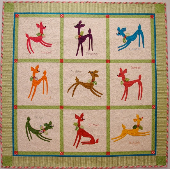 Reindeer Playground from the book A Slice Of Christmas by Becky Goldsmith & Linda Jenkins. Quilt by Becky Goldsmith.