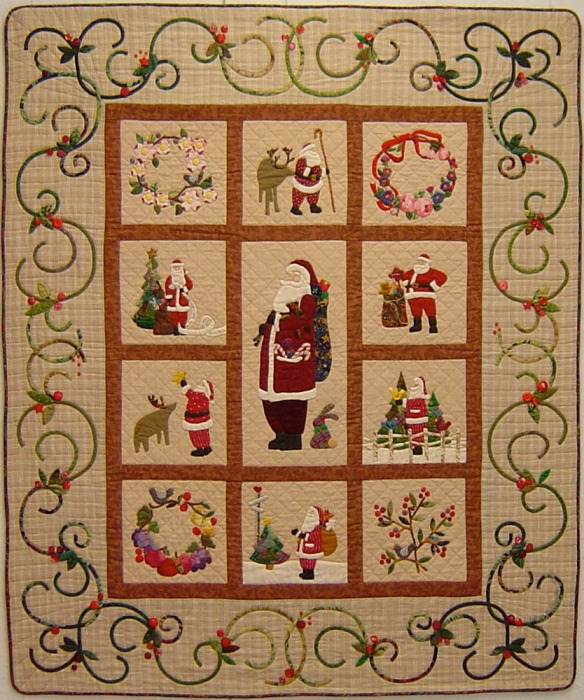 A Sampling Of Santas from the book A Slice Of Christmas by Becky Goldsmith & Linda Jenkins. Quilt by Becky Goldsmith.