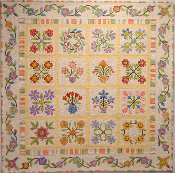Spring Spectacular from the book Applique Delights by Becky Goldsmith & Linda Jenkins. Quilt by Becky Goldsmith.