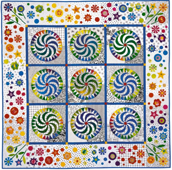 Whirlygig from the book Quilts With A Spin by Becky Goldsmith & Linda Jenkins. Quilt by Becky Goldsmith.