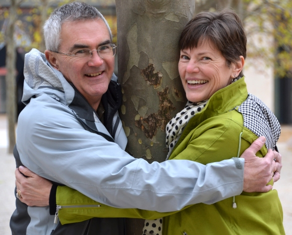 Steve and Becky - tree hugging at Lincoln Center
